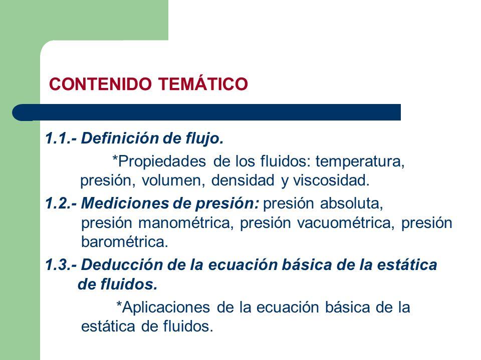CONTENIDO TEMÁTICO 1.1.- Definición de flujo.