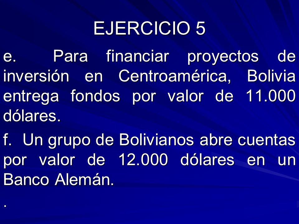EJERCICIO 5 e. Para financiar proyectos de inversión en Centroamérica, Bolivia entrega fondos por valor de 11.000 dólares.