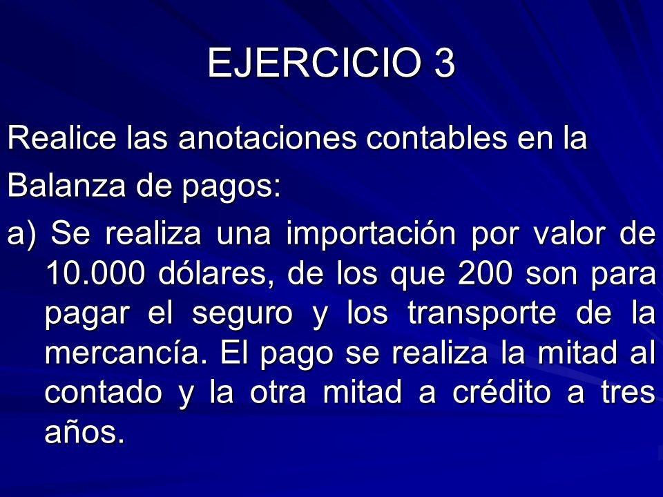 EJERCICIO 3 Realice las anotaciones contables en la Balanza de pagos: