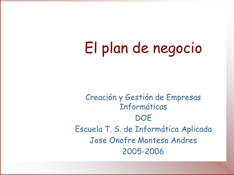 El plan de negocio Creación y Gestión de Empresas Informáticas DOE
