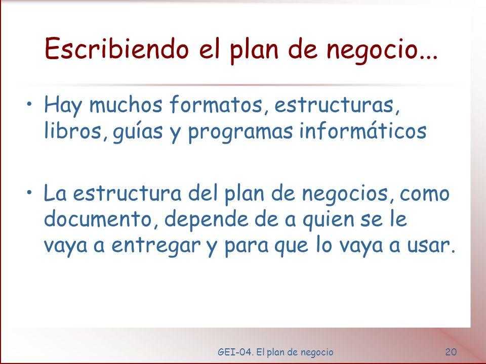 Escribiendo el plan de negocio...