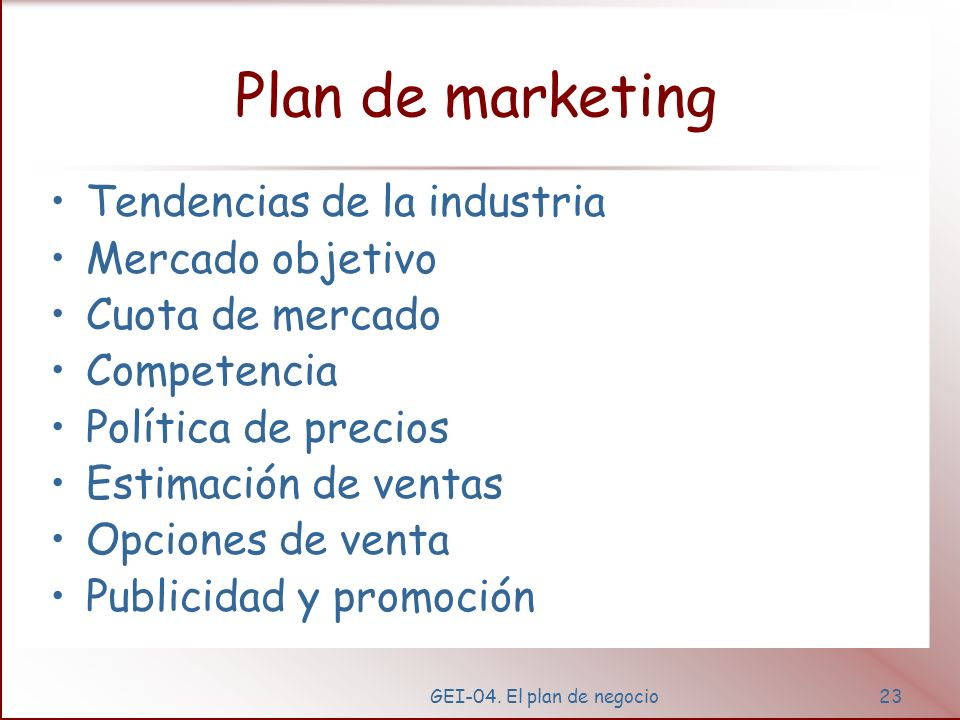 Plan de marketing Tendencias de la industria Mercado objetivo