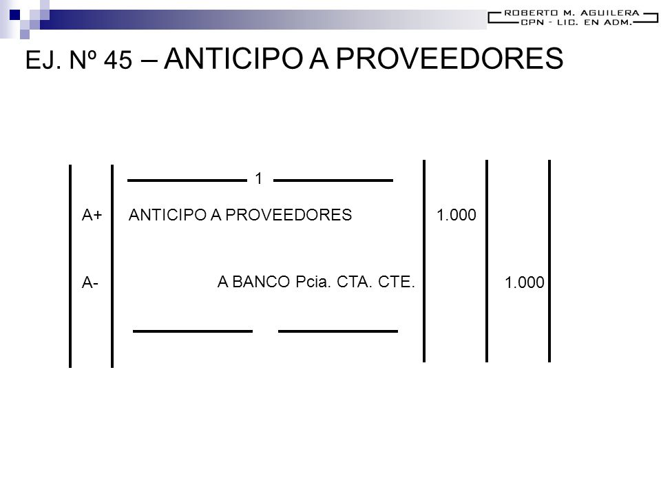 EJ. Nº 45 – ANTICIPO A PROVEEDORES