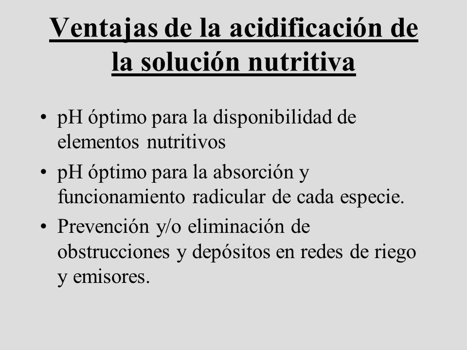 Ventajas de la acidificación de la solución nutritiva