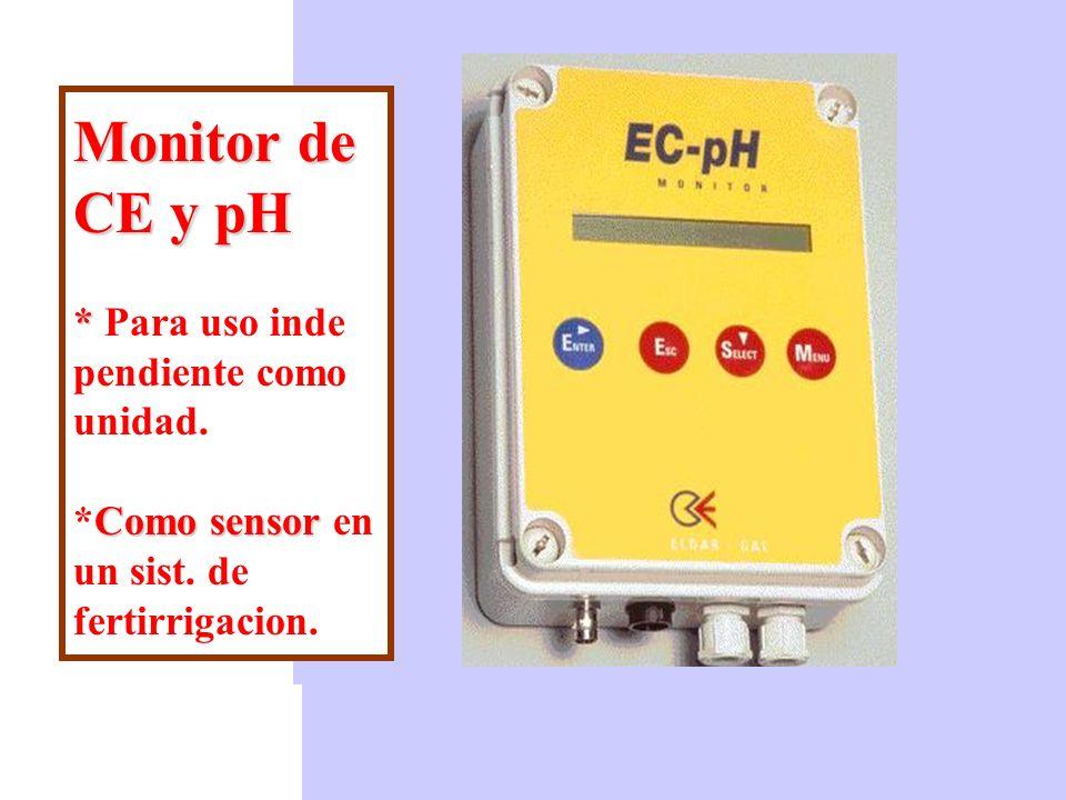 Monitor de CE y pH. Para uso inde pendiente como unidad