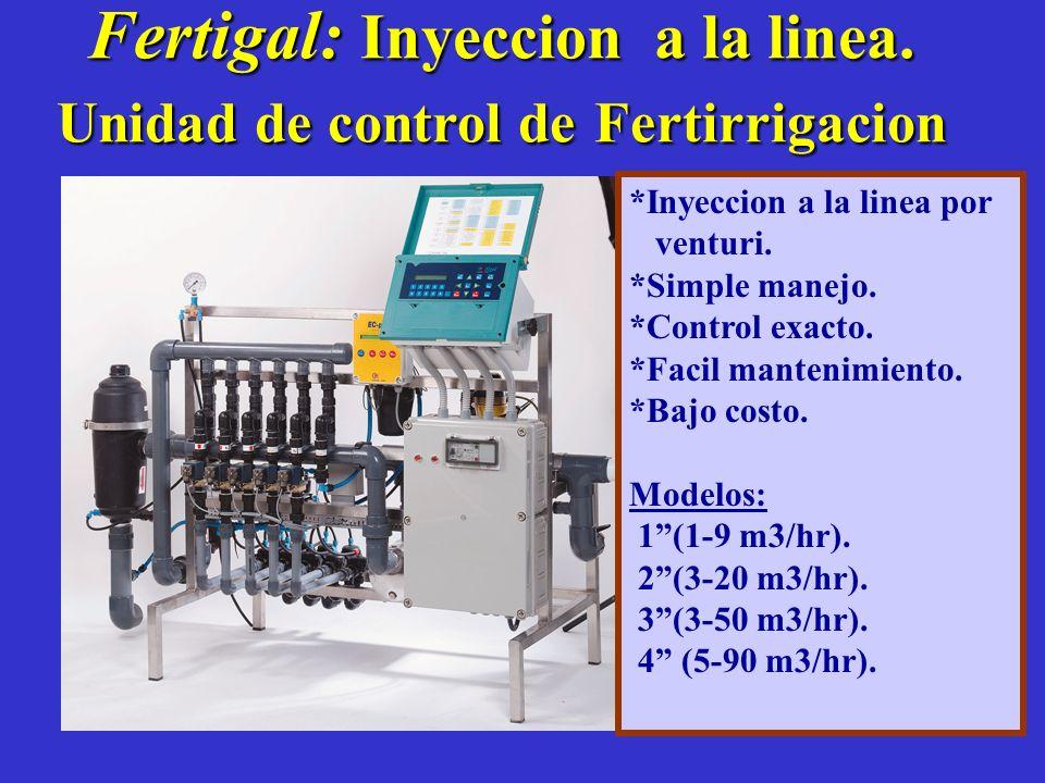 Fertigal: Inyeccion a la linea. Unidad de control de Fertirrigacion