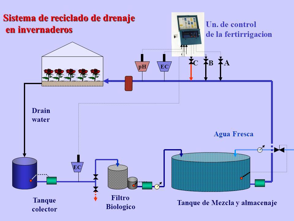 Sistema de reciclado de drenaje en invernaderos