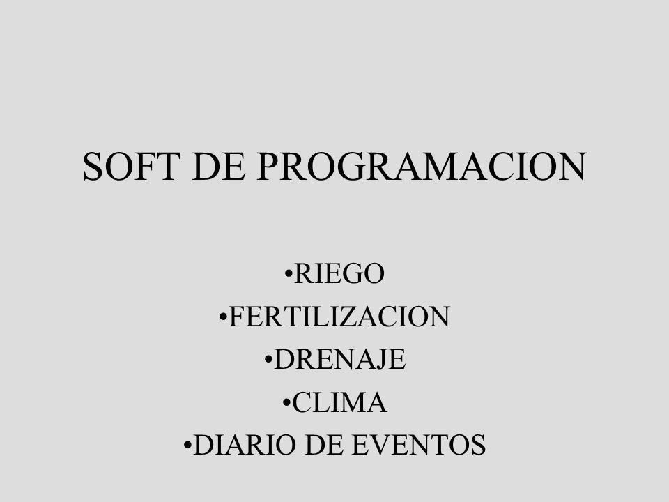 RIEGO FERTILIZACION DRENAJE CLIMA DIARIO DE EVENTOS
