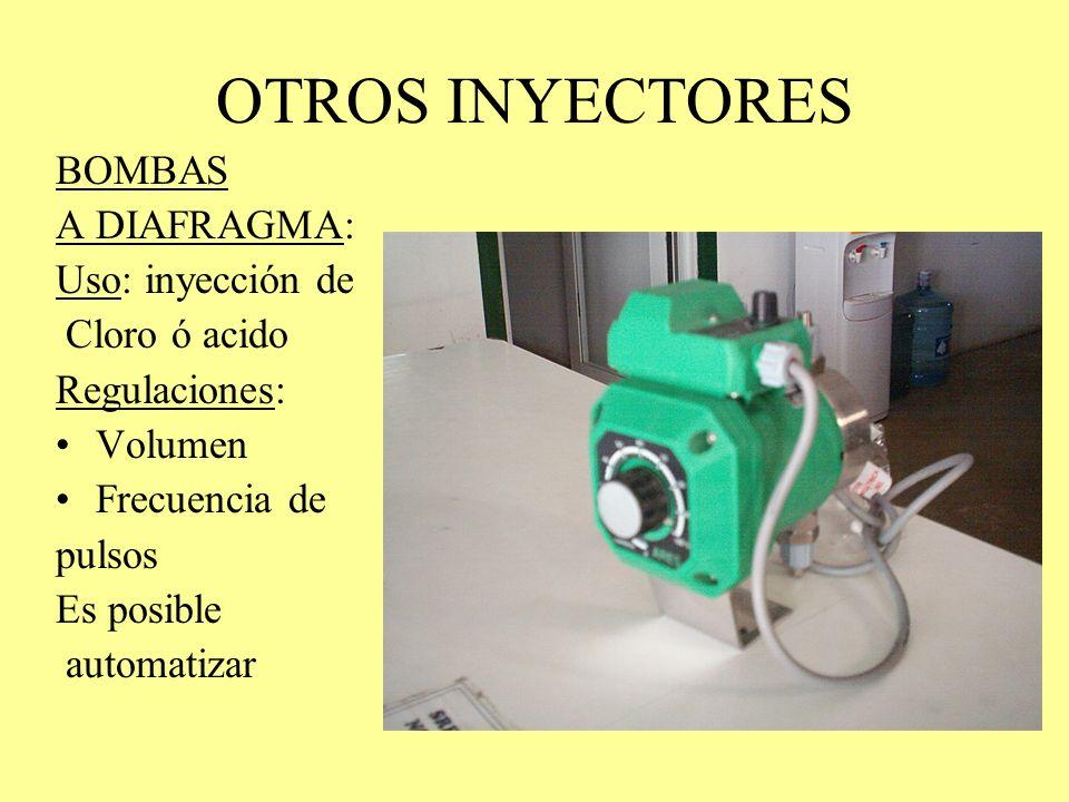 OTROS INYECTORES BOMBAS A DIAFRAGMA: Uso: inyección de Cloro ó acido