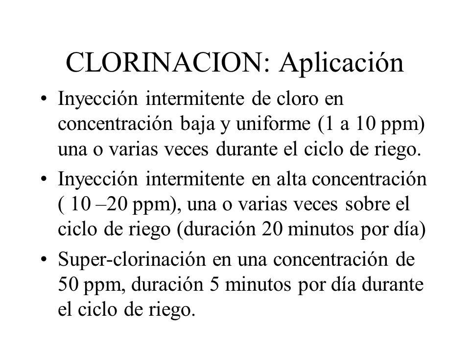 CLORINACION: Aplicación