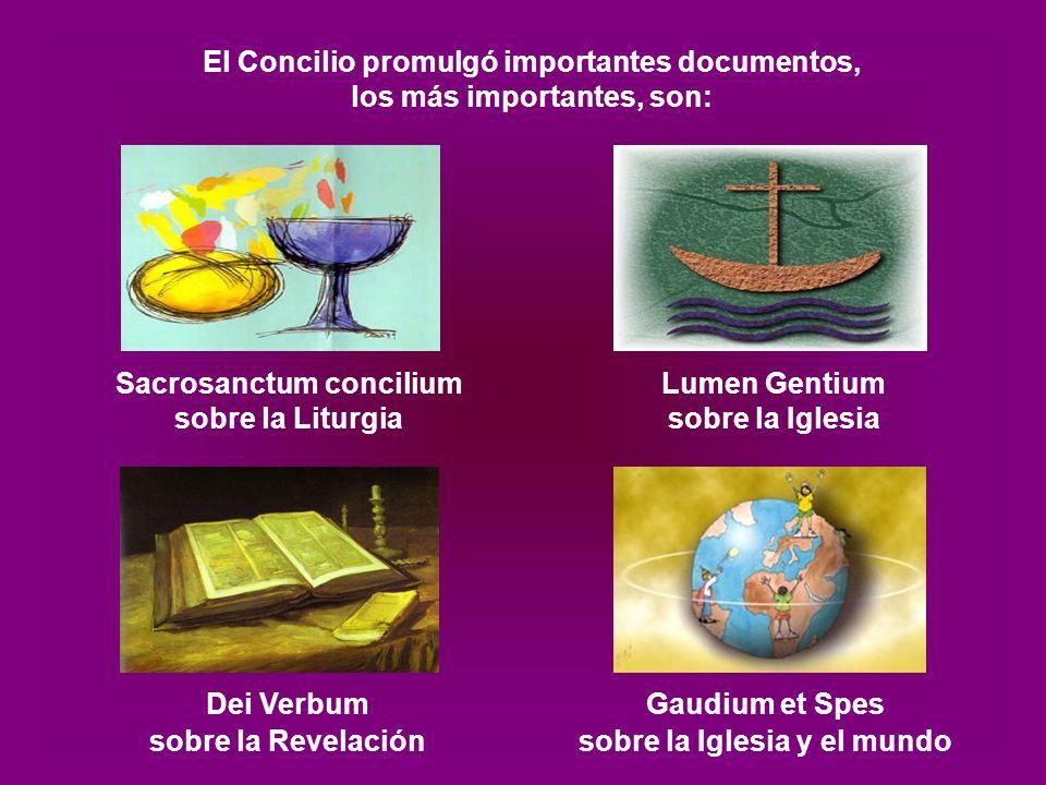 El Concilio promulgó importantes documentos, los más importantes, son: