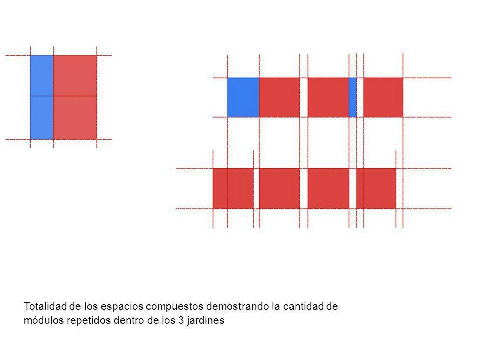 Totalidad de los espacios compuestos demostrando la cantidad de módulos repetidos dentro de los 3 jardines