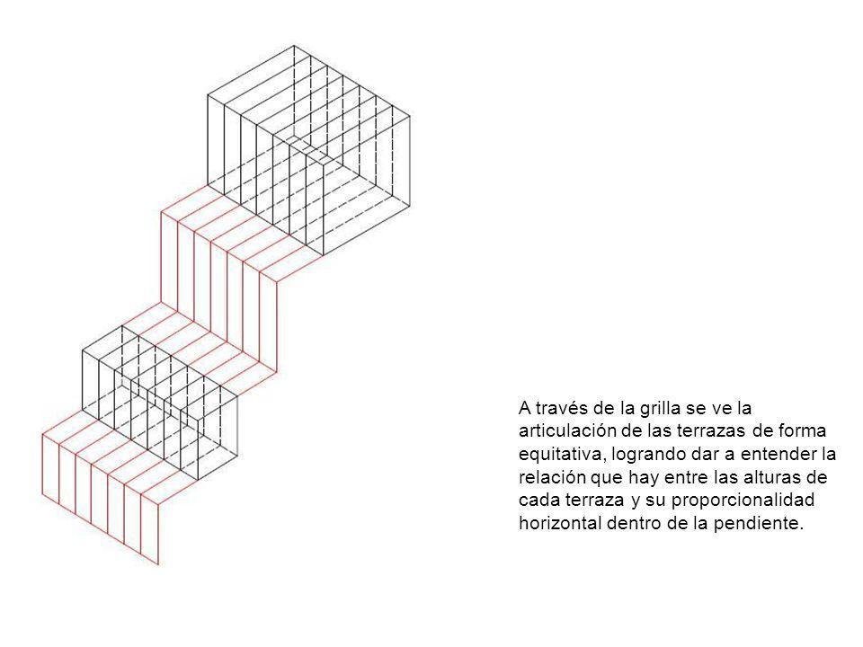 A través de la grilla se ve la articulación de las terrazas de forma equitativa, logrando dar a entender la relación que hay entre las alturas de cada terraza y su proporcionalidad horizontal dentro de la pendiente.