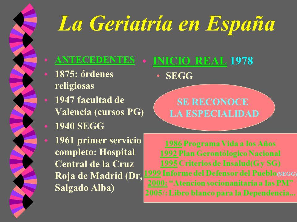 La Geriatría en España INICIO REAL 1978 ANTECEDENTES