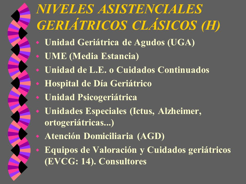 NIVELES ASISTENCIALES GERIÁTRICOS CLÁSICOS (H)