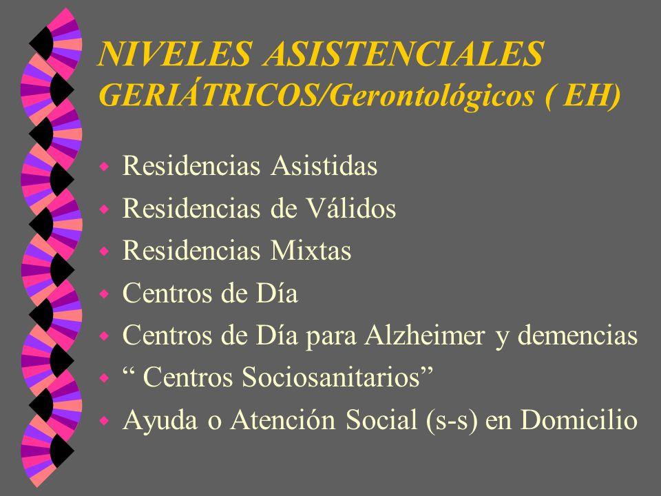 NIVELES ASISTENCIALES GERIÁTRICOS/Gerontológicos ( EH)