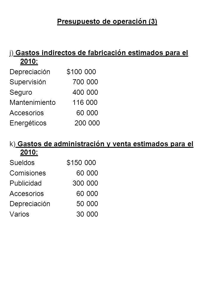 Presupuesto de operación (3)