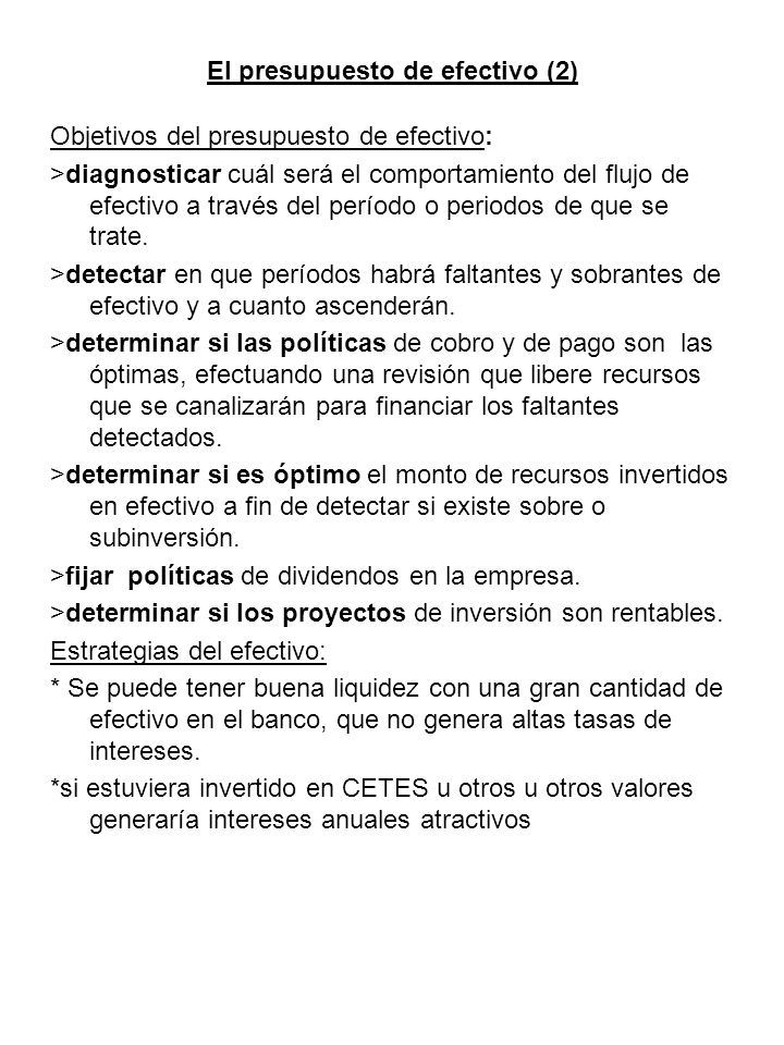 El presupuesto de efectivo (2)