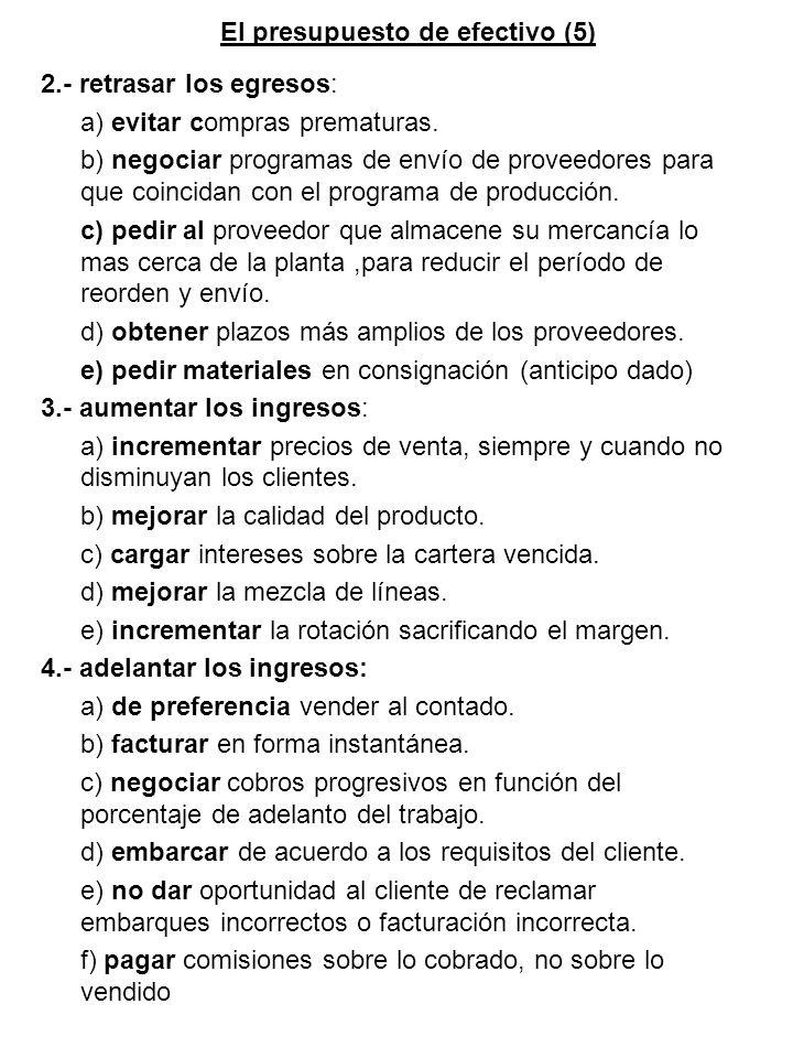 El presupuesto de efectivo (5)