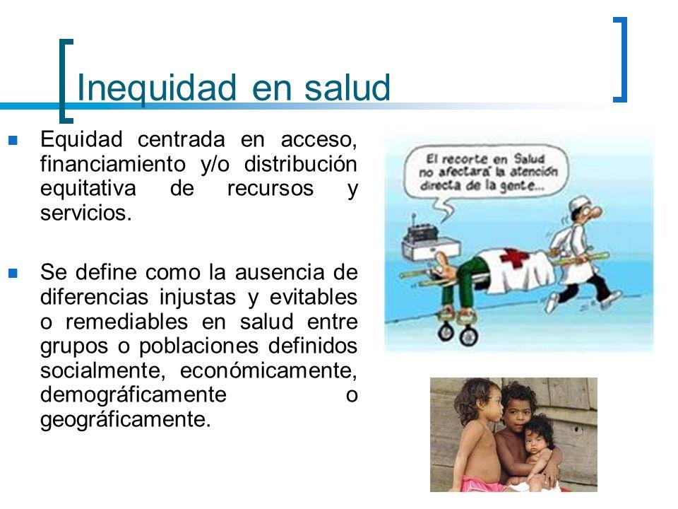 Inequidad en salud Equidad centrada en acceso, financiamiento y/o distribución equitativa de recursos y servicios.