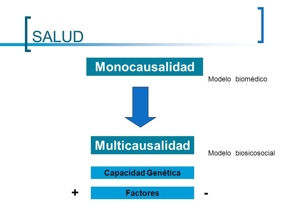 SALUD Monocausalidad Multicausalidad + - Capacidad Genética Factores