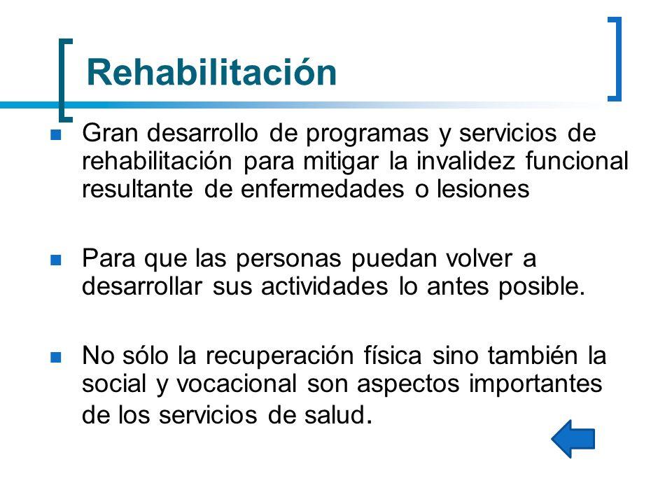 Rehabilitación Gran desarrollo de programas y servicios de rehabilitación para mitigar la invalidez funcional resultante de enfermedades o lesiones.