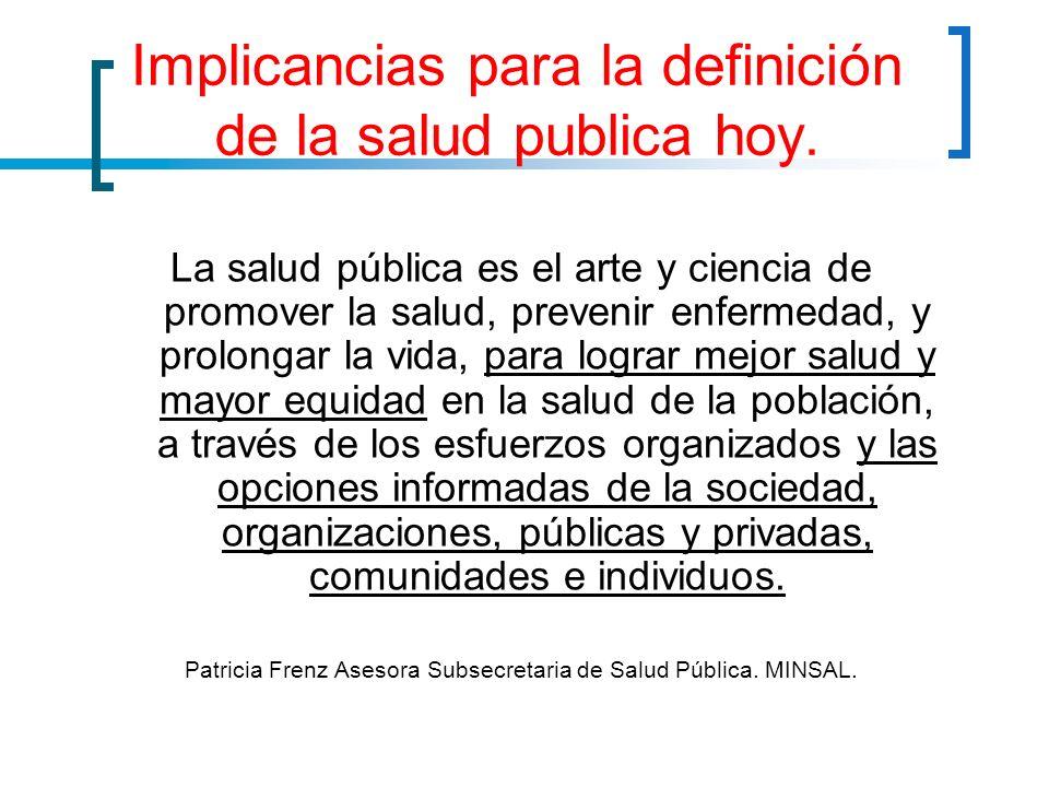 Implicancias para la definición de la salud publica hoy.