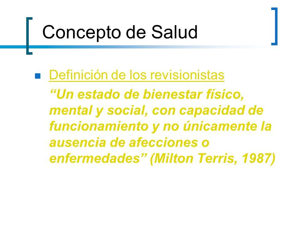 Concepto de Salud Definición de los revisionistas