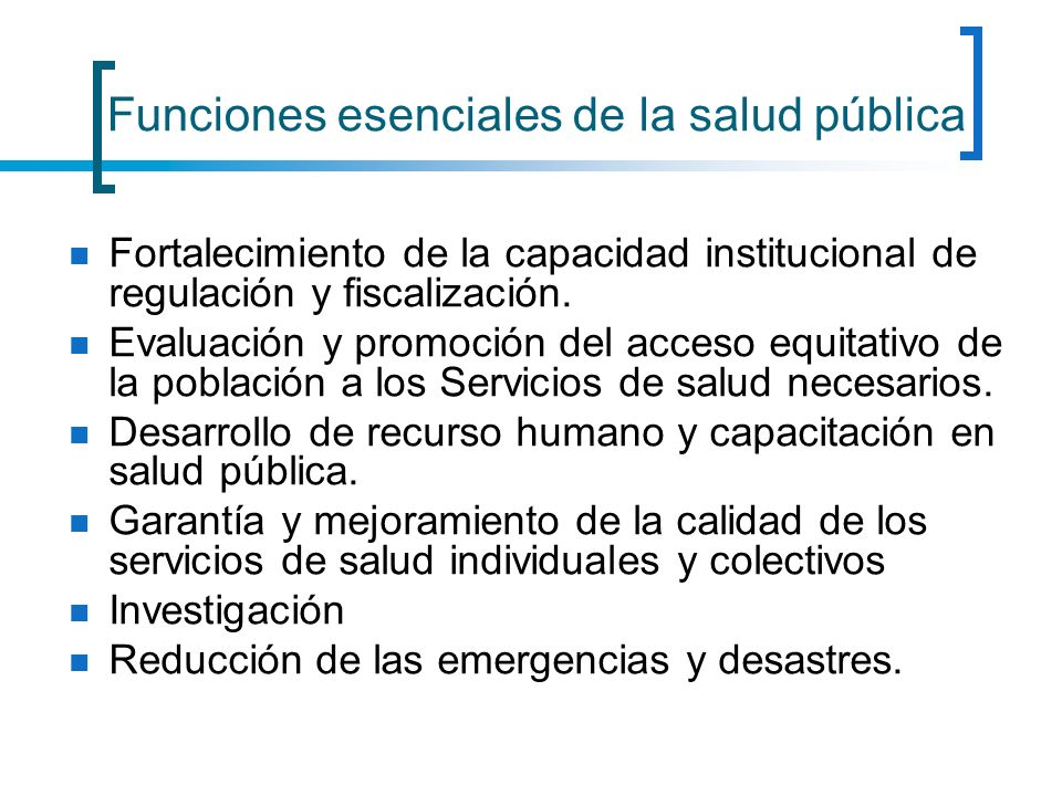 Funciones esenciales de la salud pública
