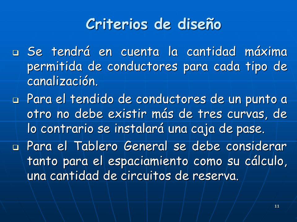 Criterios de diseño Se tendrá en cuenta la cantidad máxima permitida de conductores para cada tipo de canalización.