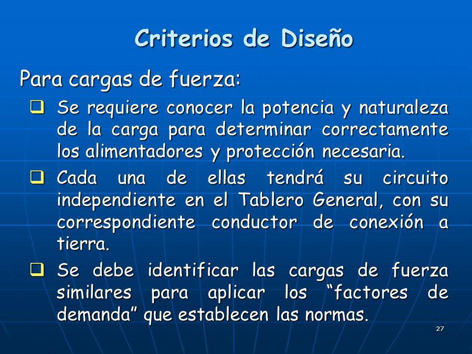 Criterios de Diseño Para cargas de fuerza: