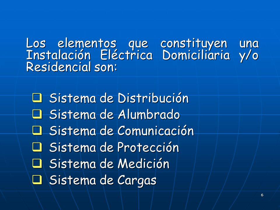 Los elementos que constituyen una Instalación Eléctrica Domiciliaria y/o Residencial son: