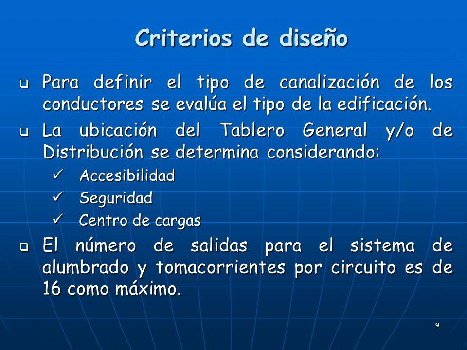 Criterios de diseño Para definir el tipo de canalización de los conductores se evalúa el tipo de la edificación.