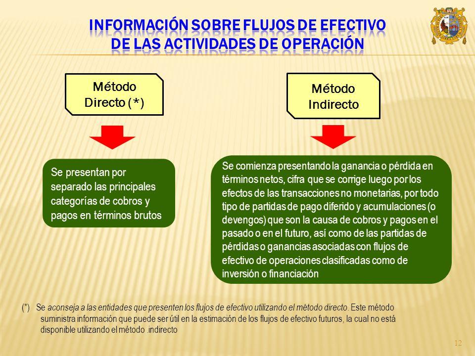 Información sobre flujos de efectivo de las actividades de operación