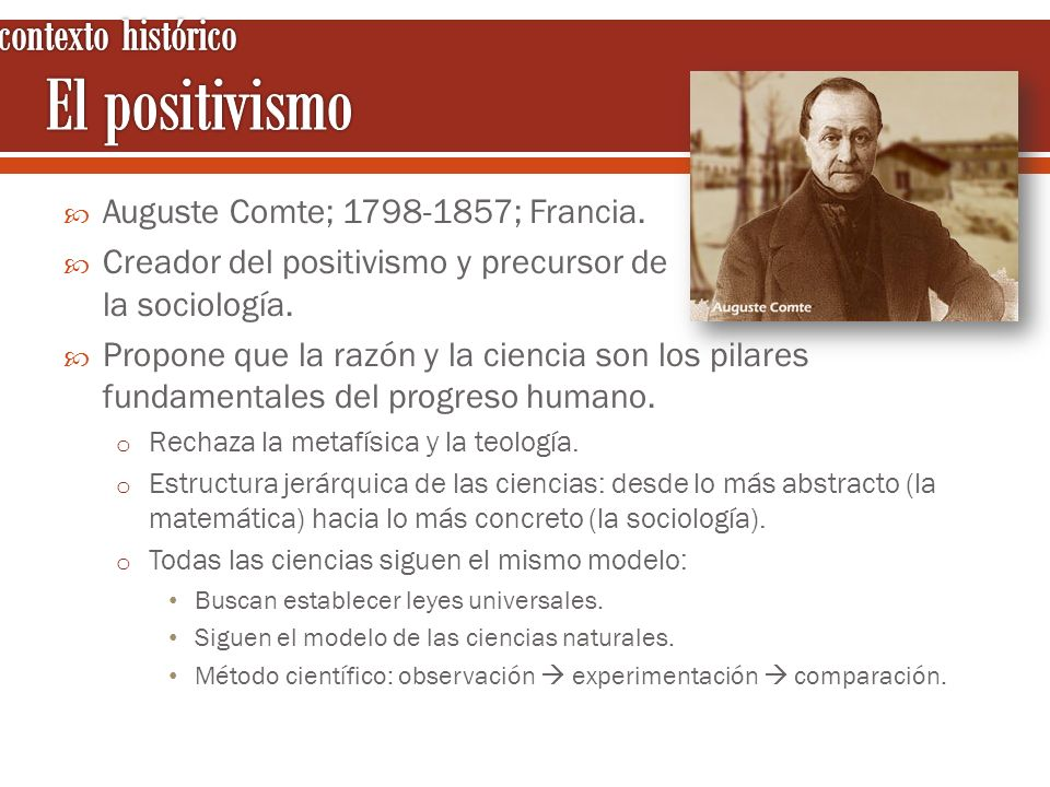 El positivismo contexto histórico Auguste Comte; 1798-1857; Francia.
