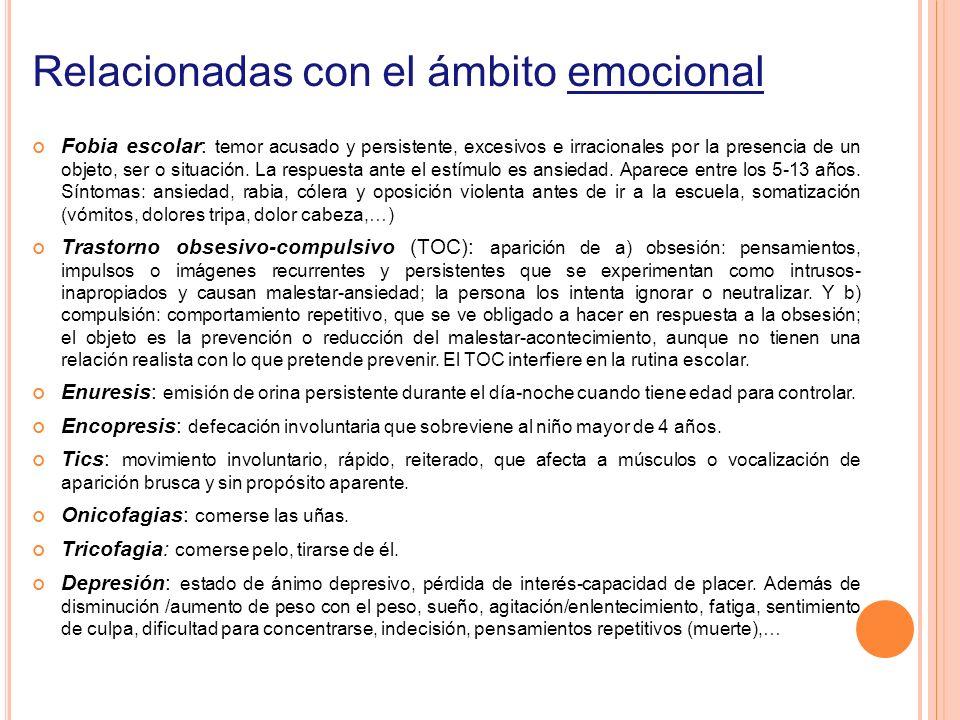 Relacionadas con el ámbito emocional