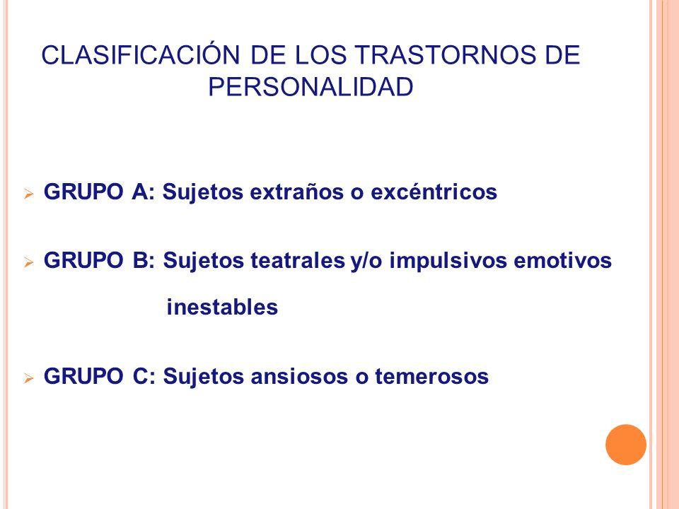 CLASIFICACIÓN DE LOS TRASTORNOS DE PERSONALIDAD