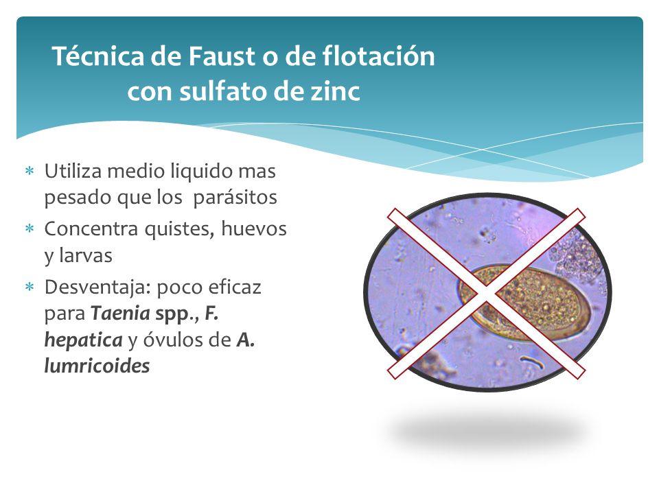 Técnica de Faust o de flotación con sulfato de zinc