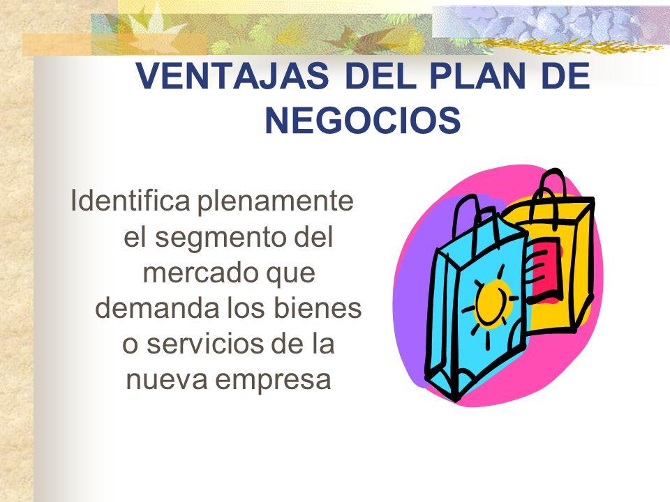 VENTAJAS DEL PLAN DE NEGOCIOS