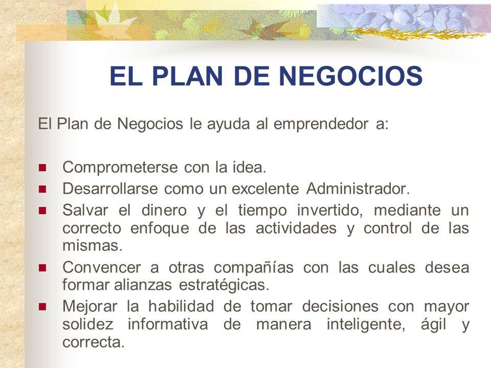 EL PLAN DE NEGOCIOS El Plan de Negocios le ayuda al emprendedor a:
