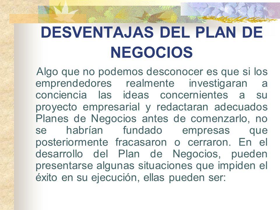 DESVENTAJAS DEL PLAN DE NEGOCIOS