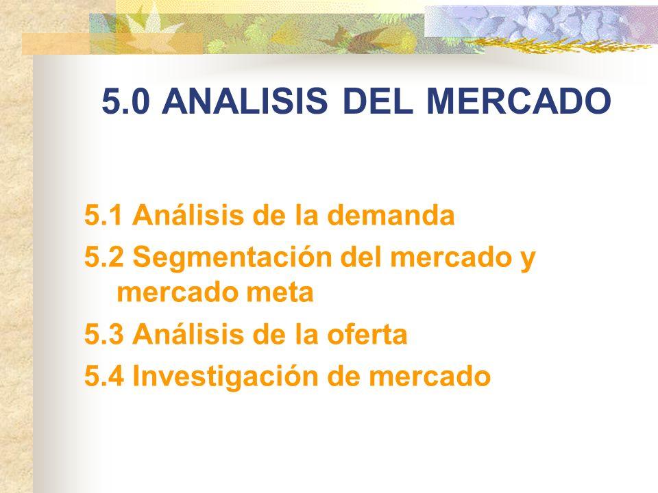 5.0 ANALISIS DEL MERCADO 5.1 Análisis de la demanda