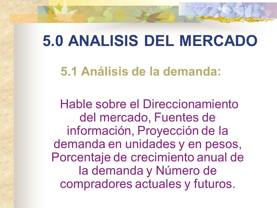 5.1 Análisis de la demanda: