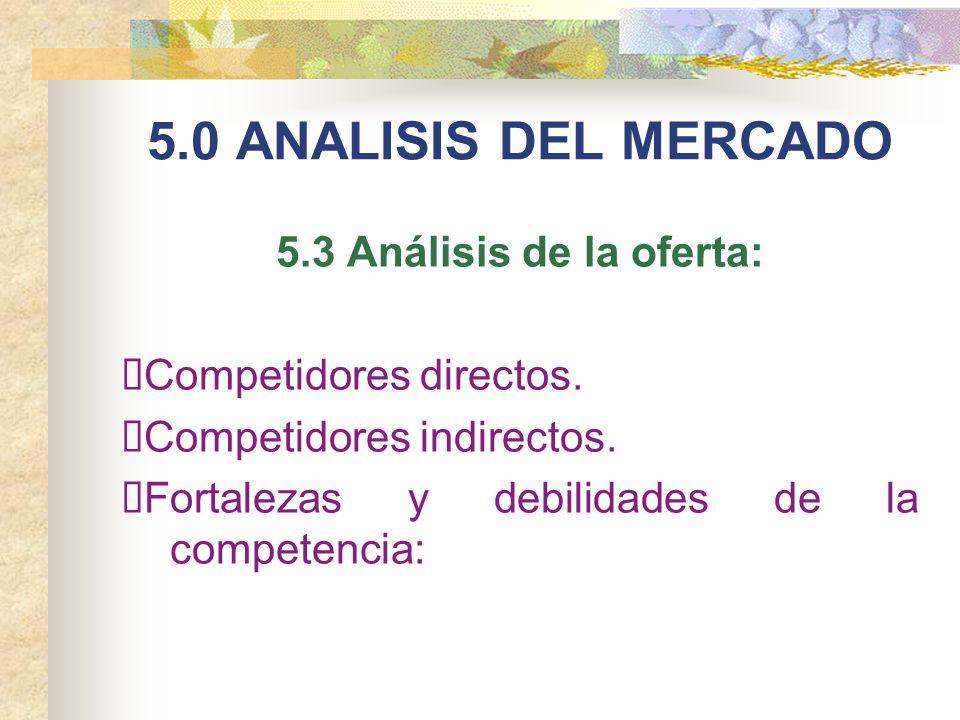 5.0 ANALISIS DEL MERCADO 5.3 Análisis de la oferta: