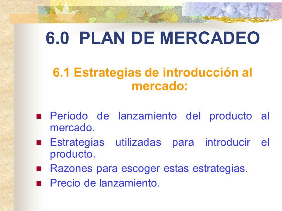 6.1 Estrategias de introducción al mercado: