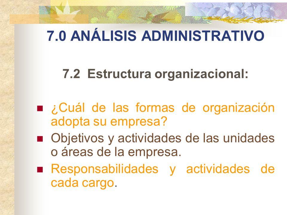 7.0 ANÁLISIS ADMINISTRATIVO