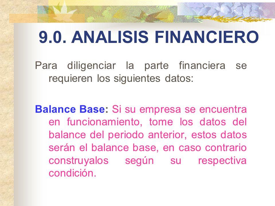 9.0. ANALISIS FINANCIERO Para diligenciar la parte financiera se requieren los siguientes datos: