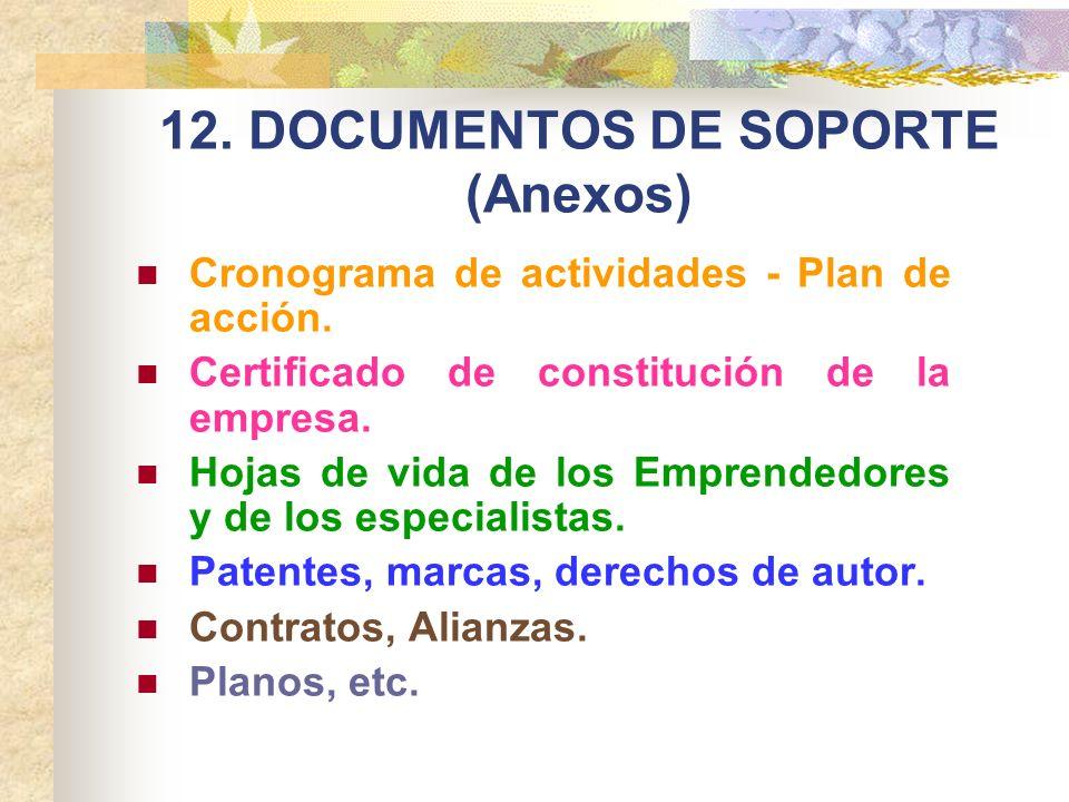 12. DOCUMENTOS DE SOPORTE (Anexos)
