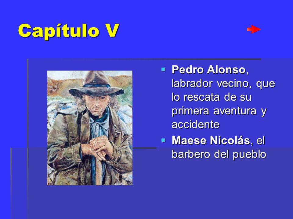 Capítulo V Pedro Alonso, labrador vecino, que lo rescata de su primera aventura y accidente.