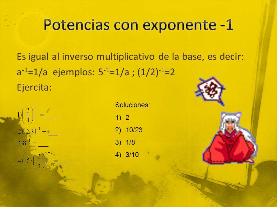 Potencias con exponente -1